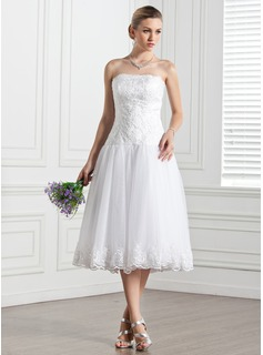 A-Line/Princess Strapless Tea-Length Organza Wedding Dress With Lace (002000133)