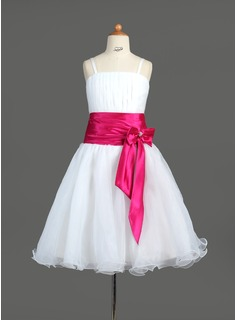 A-Line/Princess Knee-Length Organza Charmeuse Flower Girl Dress With Ruffle Sash Beading Bow(s) (010005774)