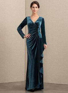 A-Linie V-Ausschnitt Bodenlang Samt Abendkleid mit Perlstickerei Pailletten Gestufte Rüschen (017192582)