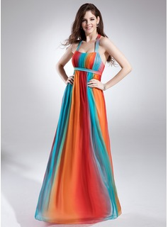 Holiday Dresses Empire Halter Floor-Length Chiffon Holiday Dress With Ruffle (020015836)