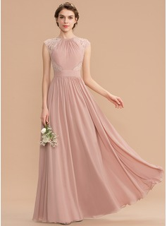 A-Line Scoop Neck Floor-Length Chiffon Lace Bridesmaid Dress With Bow(s) (007176772)