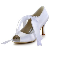 Women's Satin Cone Heel Peep Toe Sandals With Lace-up (047026396)