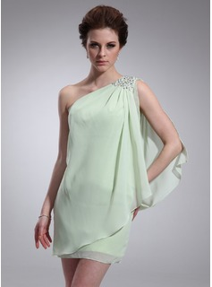 Formal Dresses Sheath One-Shoulder Short/Mini Chiffon Homecoming Dress With Ruffle Beading (022010347)