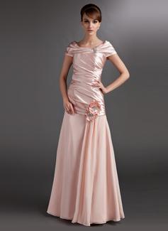 A-Linie/Princess-Linie Off-the-Schulter Bodenlang Chiffon Charmeuse Kleid für die Brautmutter mit Rüschen Perlstickerei Blumen (008006118)