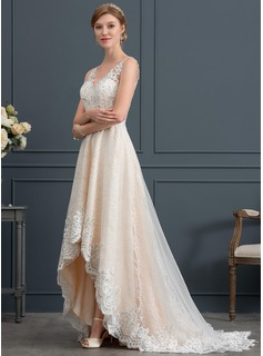 A-Line V-neck Asymmetrical Tulle Wedding Dress With Lace (002171923)