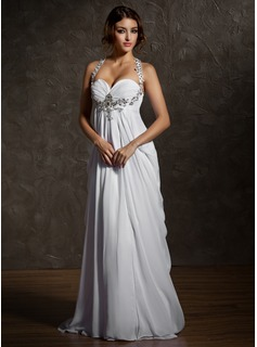Cheap Wedding Dresses Empire Sweetheart Sweep Train Chiffon Wedding Dress With Ruffle Beadwork (002011570)