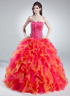 Duchesse-Linie Herzausschnitt Bodenlang Organza Quinceañera Kleid (Kleid für die Geburtstagsfeier) mit Perlen verziert Gestufte Rüschen (021016018)