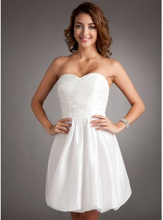 A-Line/Princess Sweetheart Short/Mini Taffeta Homecoming Dress With Ruffle Beading Appliques Lace (022016342)