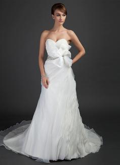 A-Line/Princess Sweetheart Court Train Organza Wedding Dress With Ruffle Beading Flower(s) (002015353)