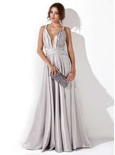 Evening Dresses A-Line/Princess V-neck Floor-Length Charmeuse Evening Dress With Ruffle (017020657)