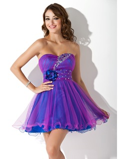 Sweet Sixteen Dresses Empire Sweetheart Short/Mini Tulle Homecoming Dress With Ruffle Beading Flower(s) (022009670)