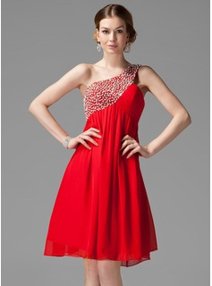 Empire One-Shoulder Knee-Length Chiffon Homecoming Dress With Ruffle Beading Sequins (022004455)