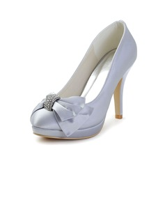 Women's Satin Kitten Heel Closed Toe Platform With Rhinestone Lace-up (047033120)