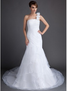 Trumpet/Mermaid One-Shoulder Chapel Train Organza Wedding Dress With Flower(s) Cascading Ruffles (002015802)
