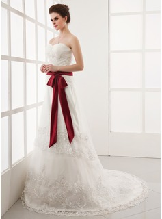 A-Line/Princess Sweetheart Chapel Train Satin Tulle Wedding Dress With Ruffle Lace Sash Bow(s) (002000164)