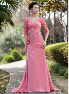 A-Line/Princess V-neck Sweep Train Chiffon Tulle Mother of the Bride Dress With Ruffle Beading Flower(s) Sequins (008018986)