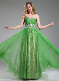 A-Linie/Princess-Linie Herzausschnitt Bodenlang Tüll Abiballkleid mit Rüschen Perlen verziert (018018877)