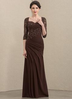 Trompete/Meerjungfrau-Linie Schatz Bodenlang Chiffon Spitze Kleid für die Brautmutter mit Rüschen Perlstickerei Pailletten (008195398)