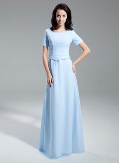 A-Linie/Princess-Linie U-Ausschnitt Bodenlang Chiffon Kleid für die Brautmutter mit Rüschen (008014954)