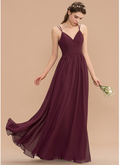 A-Line V-neck Floor-Length Chiffon Lace Bridesmaid Dress With Ruffle (007165848)