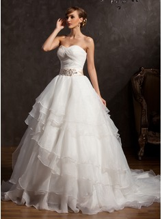 Ball-Gown Sweetheart Chapel Train Organza Charmeuse Wedding Dress With Sash Appliques Lace Sequins Bow(s) Cascading Ruffles (002015163)