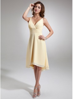 Cheap Bridesmaid Dresses A-Line/Princess V-neck Asymmetrical Chiffon Bridesmaid Dress With Ruffle Beading (007001144)