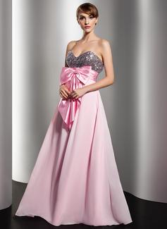Império Coração Longos De chiffon Lantejoulas Vestido de Férias com Pregueado Cintos Curvado (020014541)