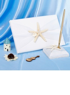 Satin Starfish and Seashell Guestbook/Pen Set (101018133)