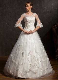 Forme Marquise Col V Longueur ras du sol Satiné Tulle Robe de mariée avec Dentelle Emperler (002015168)