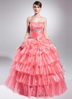 Duchesse-Linie Trägerlos Bodenlang Organza Quinceañera Kleid (Kleid für die Geburtstagsfeier) mit Perlstickerei Applikationen Spitze Pailletten Gestufte Rüschen (021015041)