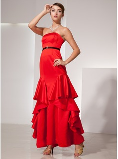 Avondjurken Nauwaansluitend Strapless Vloerlengte Satin Avondjurk met Sash Kraal (017014413)