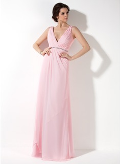 A-Line/Princess V-neck Floor-Length Chiffon Bridesmaid Dress With Ruffle Beading (007017157)