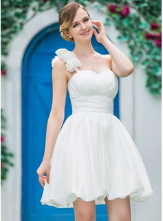 A-Line/Princess One-Shoulder Short/Mini Taffeta Wedding Dress With Ruffle Flower(s) (002051517)