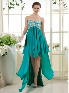 Robe de Bal de Promo Ligne-A/Princesse Cur Assymetrique Mousseline Robe de Bal de Promo avec Dentelle Perles (018015451)