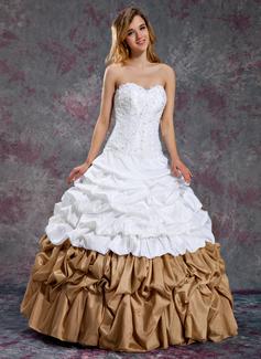 Duchesse-Linie Herzausschnitt Bodenlang Taft Quinceañera Kleid (Kleid für die Geburtstagsfeier) mit Rüschen Perlen verziert (021003114)