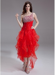 Cheap Homecoming Dresses A-Line/Princess One-Shoulder Asymmetrical Organza Prom Dress With Beading Sequins (018011238)