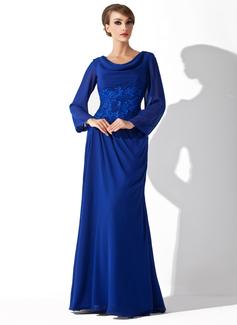 A-Linie/Princess-Linie Wasserfallausschnitt Bodenlang Chiffon Kleid für die Brautmutter mit Spitze (008006015)