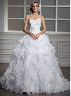 Ball-Gown Sweetheart Court Train Satin Organza Wedding Dress With Beading Sequins Cascading Ruffles (002004530)