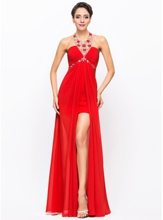 A-Line/Princess Halter Asymmetrical Chiffon Prom Dress With Ruffle Beading Sequins (018056708)