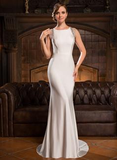 Trompete/Meerjungfrau-Linie U-Ausschnitt Sweep/Pinsel zug Jersey Abendkleid mit Perlen verziert Pailletten (017050398)