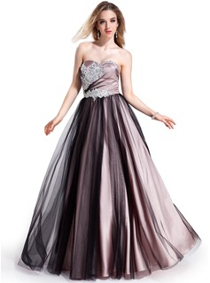 Ball-Gown Sweetheart Floor-Length Tulle Charmeuse Prom Dress With Beading Appliques (018025295)