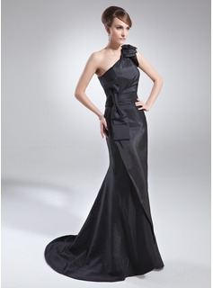 Trumpet/Mermaid One-Shoulder Sweep Train Taffeta Mother of the Bride Dress With Ruffle Bow(s) (008015715)