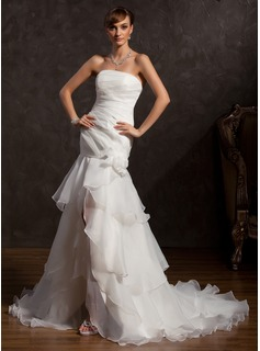 Trumpet/Mermaid Strapless Asymmetrical Organza Wedding Dress With Lace Flower(s) Split Front Cascading Ruffles (002015176)