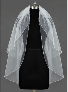 Two-tier Fingertip Bridal Veils With Sequin Trim Edge (006034469)