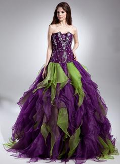 Duchesse-Linie Wellenkante Bodenlang Organza Quinceañera Kleid (Kleid für die Geburtstagsfeier) mit Perlen verziert Gestufte Rüschen (021015611)