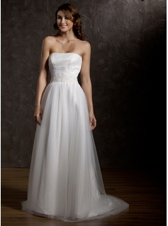 A-Line/Princess Strapless Court Train Satin Tulle Wedding Dress With Ruffle Beading (002011762)