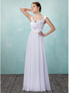 A-Line/Princess Sweetheart Floor-Length Chiffon Charmeuse Wedding Dress With Ruffle Flower(s) (002011982)