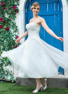 Forme Princesse Bustier en coeur Longueur mollet Tulle Robe de mariée avec Plissé (002042289)