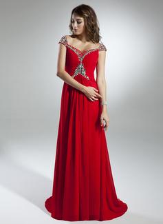 Vestidos princesa/ Formato A Off-the-ombro Sweep/Brush trem Tecido de seda Vestido de Férias com Pregueado Beading (020032259)