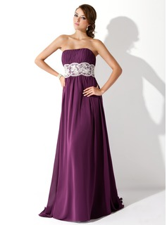 Empire Strapless Sweep Train Chiffon Prom Dress With Ruffle Lace Beading (018005060)